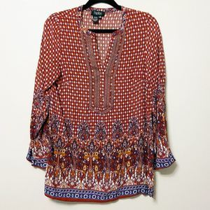 PAPILLON - Boho Indian  Inspired Red Brick Tunic M